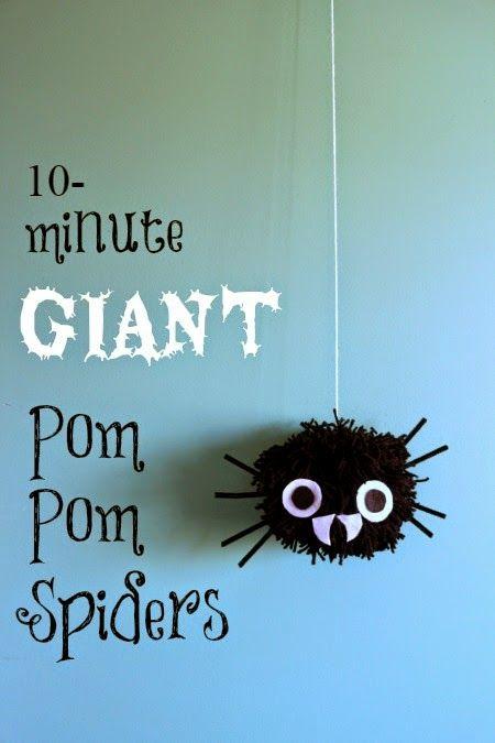 Giant Pom Pom Spiders for DIY Halloween Decorations Halloween - spiders for halloween decorations