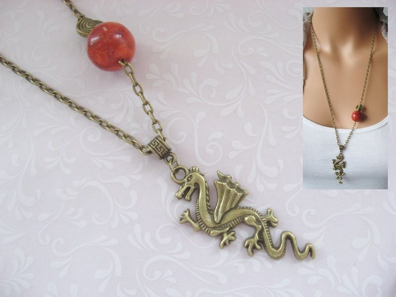 Long Necklace *+Red Moon Dragon+* for all fantasy and dragon lovers.    Bronze colored chain with a red coral bead and spiral, pendant an impressiv...