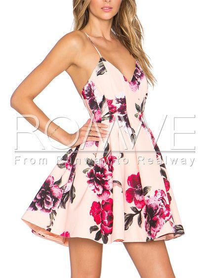 3e22dcf7c8b4 Pink Spaghetti Strap Backless Floral Print Flare Dress Mobile Site ...