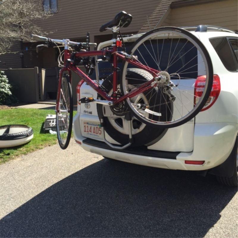 folding dual arms thule spare tire bike