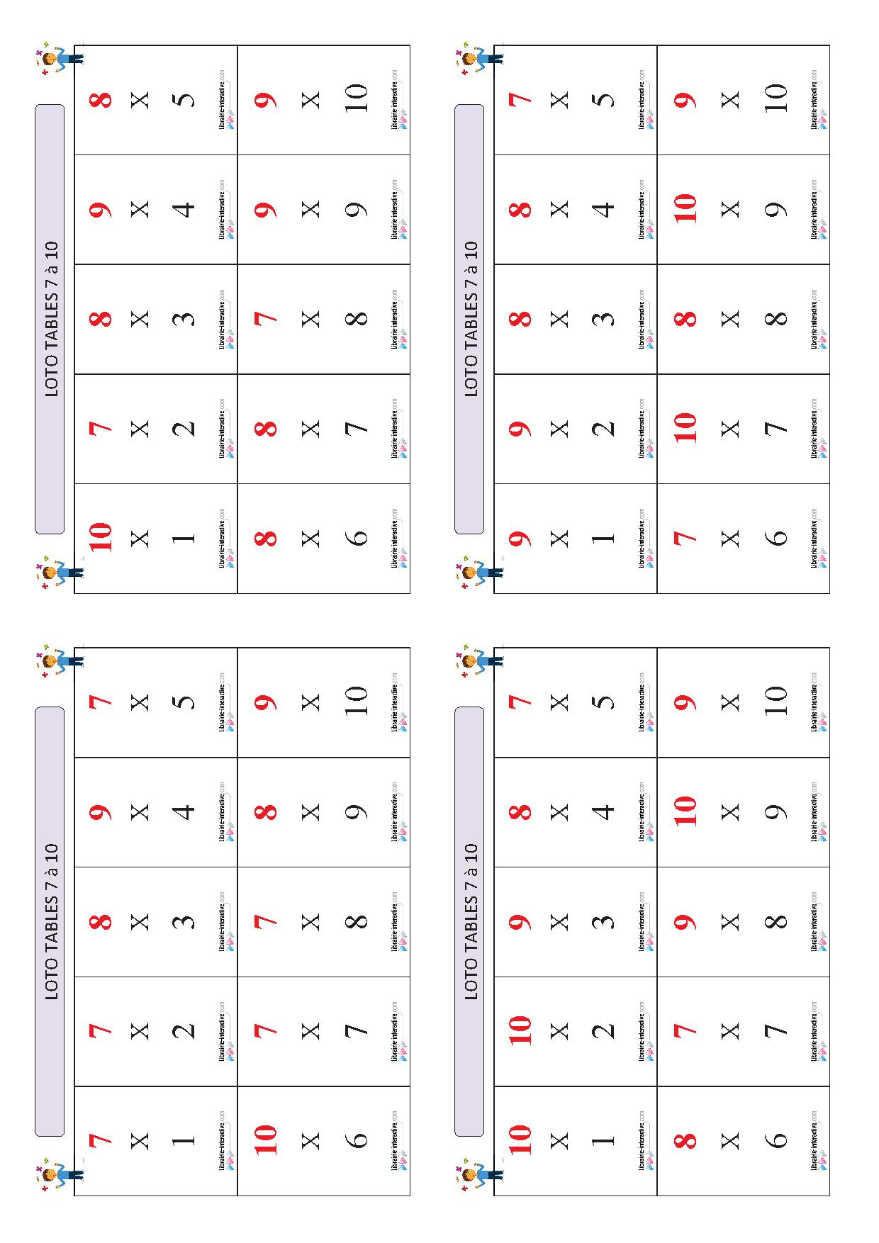 Un Jeu De Loto Pour Apprendre Et Memoriser Les Tables De Multiplication De 7 A 10 Table De Multiplication Multiplication Loto