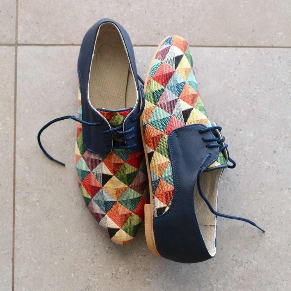Leather shoes Women flat  Women  Unique Shoes Hand