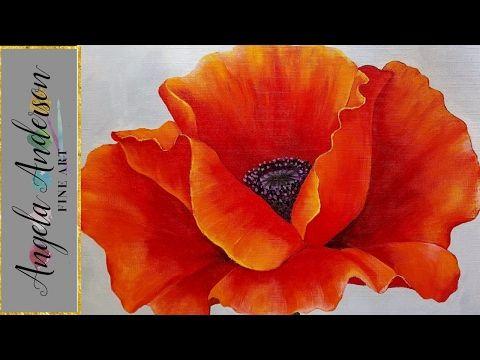 How To Paint Poppies Using Acrylic Paint Art Acrylbilder Mohnblumen Im Aufbau Abstrakt Youtube Kresby Malovani Abstrakt