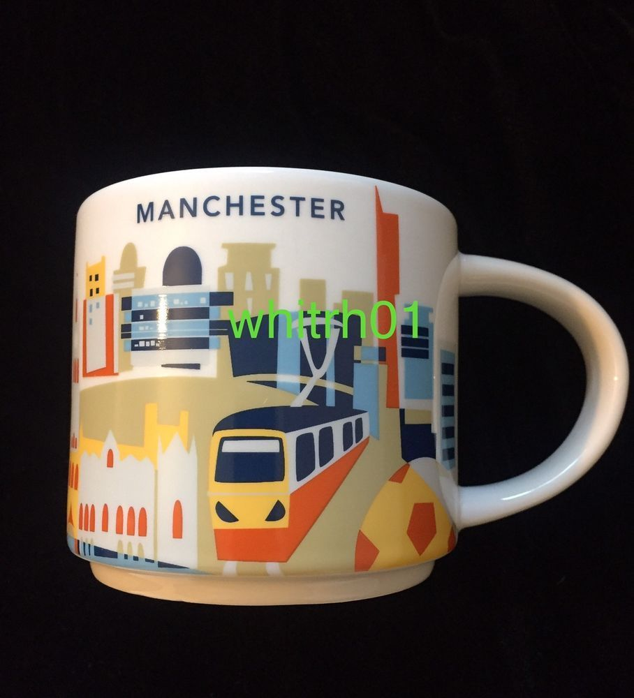Starbucks Manchester YAH Mug Train Soccer Guitar England UK Cup You Are Here #Starbucks