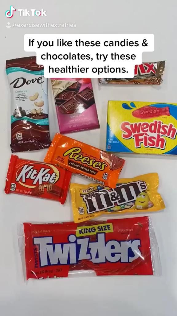 Here are some healthier alternatives to everyone's favorite candies and chocolates like Reese's Peanut Butter Cups, Twix, M&M's, and Swedish Fish. It's easy to swap out unhealthy sweets for healthier options. #healthytips #healthyliving #healthysnacks #healthier #candy