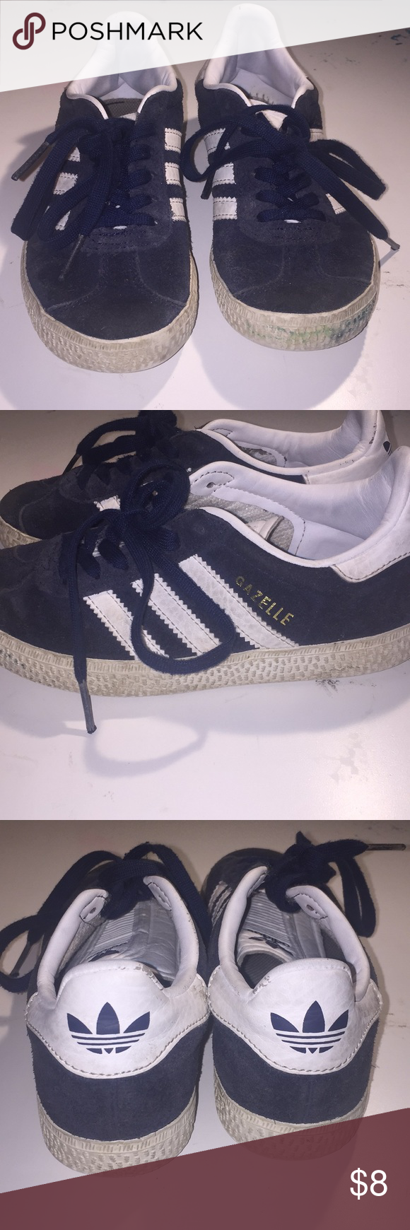 7da200dc48441 Adidas Gazelle Kids sneakers Adidas Gazelle Kids sneakers Size  11 Suede  material Wear and Tear as seen in pictures Missing inside sole pad in left  shoe ...