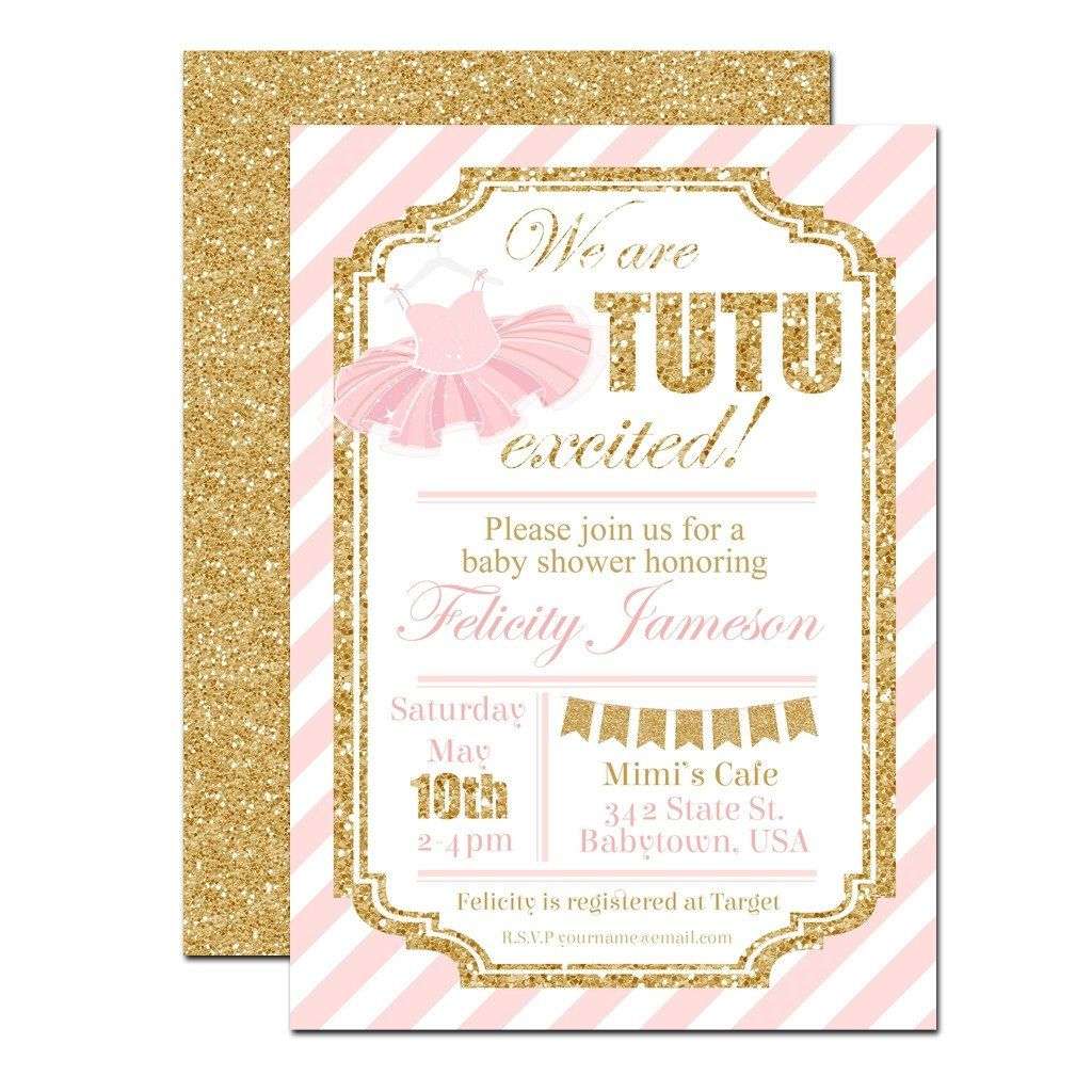 Pink and Gold Tutu Baby Shower Invitation | www.foreveryourprints ...