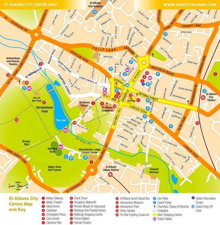 St Albans tourist map Maps Pinterest Tourist map St albans