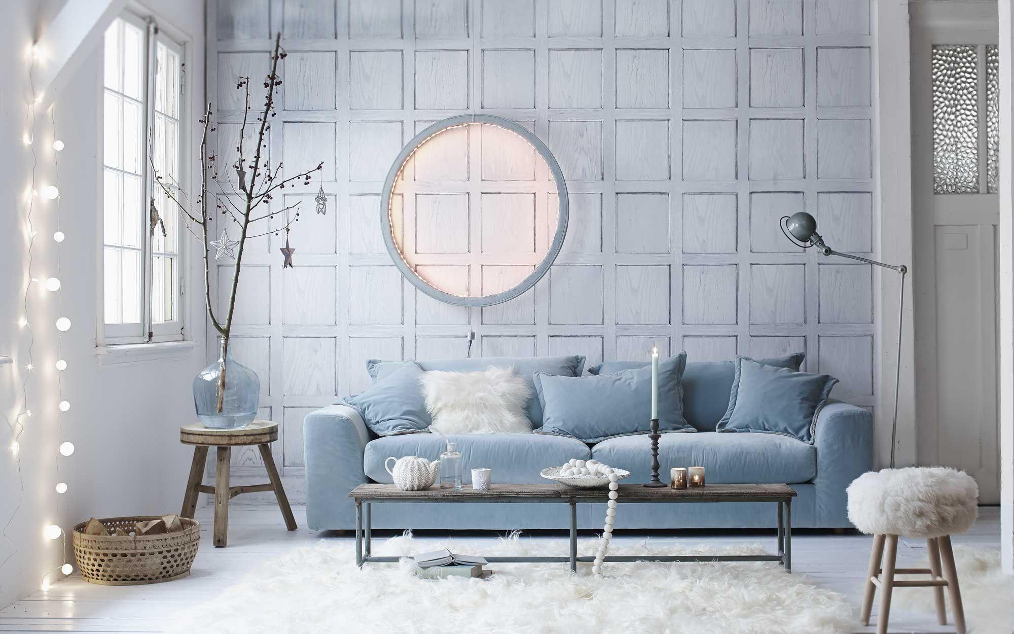Interieur Ice Blauw : Blauwe woonkamer met sfeerverlichting blue living room with