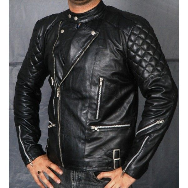 Balmain Classic men Black Leather Biker Jacket The-best-Balmain ...