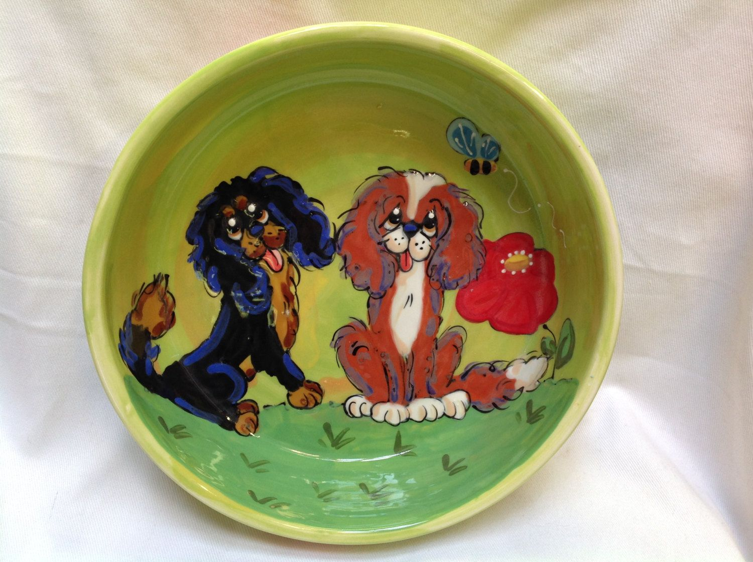 Hand Painted Dog Bowl / Whimsical Dog / King Charles Cavalier / Ceramic Dog Bowl / Dog Pottery /  Debby Carman / Faux Paw Productions by FauxPawProductions on Etsy