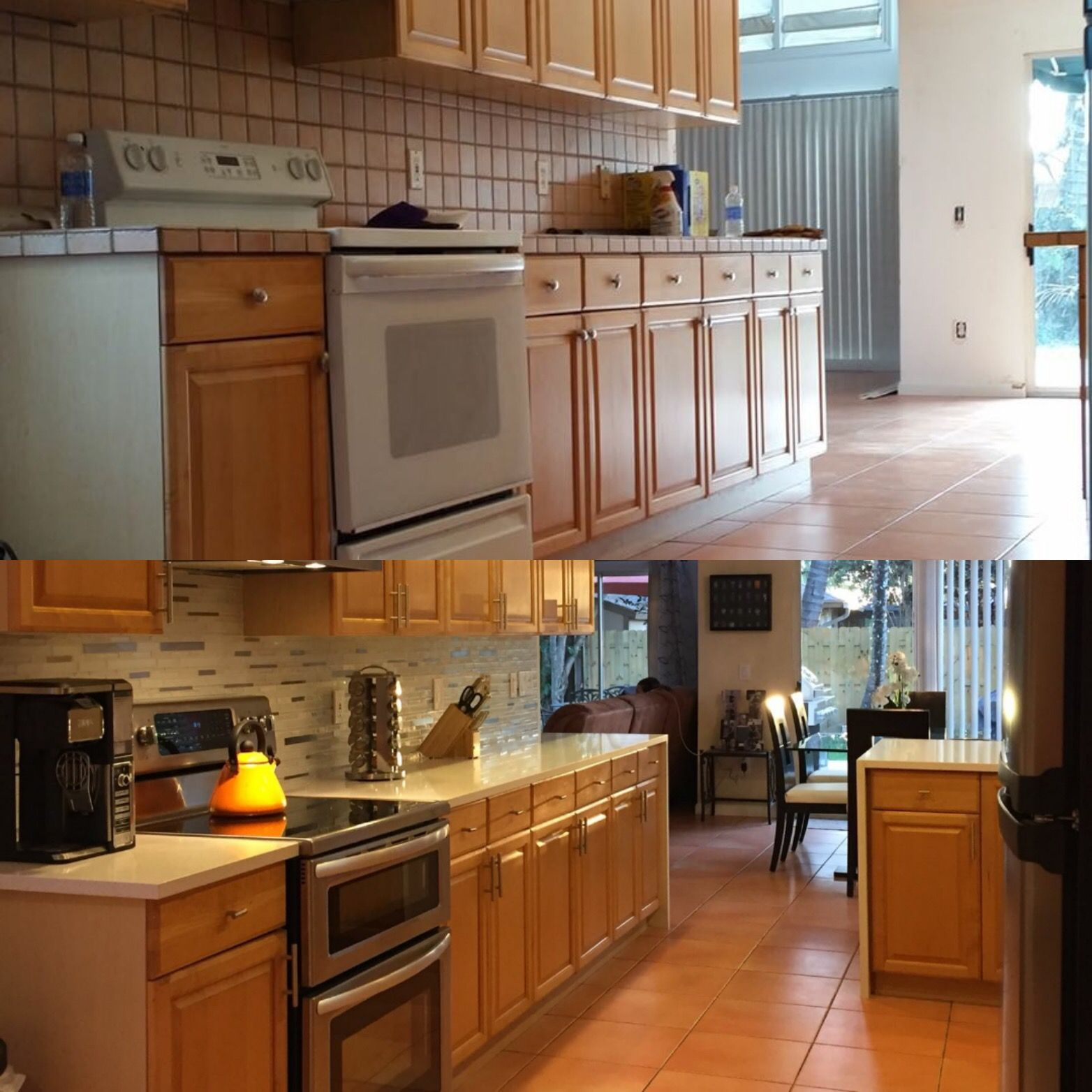 Before And After White Mosaic Stone Metal And Glass Backsplash With Sparkling Whi Oak Kitchen Cabinets Wall Color Galley Kitchen Remodel Oak Kitchen Cabinets