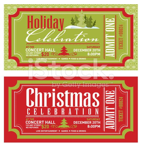 Vector illustration of a set of Christmas concert ticket templates