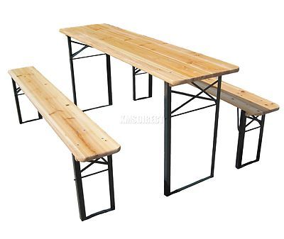 Outdoor Wooden Folding Beer Table Bench Set Trestle Garden Furniture Steel Leg