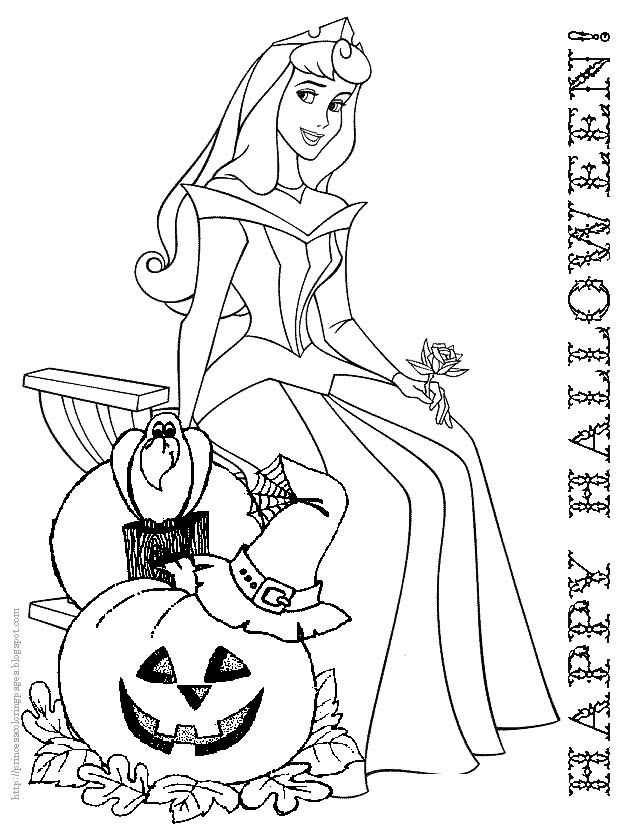 Cute Princess Disney Halloween Coloring Pages Printable And Coloring Book  To Print For Free. Find More Coloring Pages Online For Kids And Adults Of  Cute ...