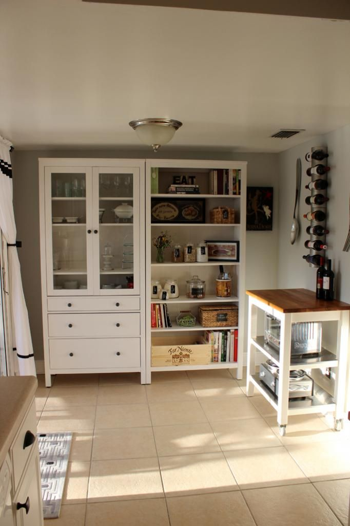 Southern Colonial Hemnes Bookcase And Cabinet Kitchen Pantry