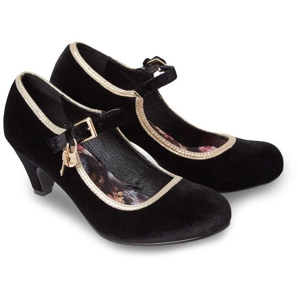 7609441d5d3 Joe Browns Black velvet mid kitten heel mary jane shoes ( 46) ❤ liked on Polyvore  featuring shoes