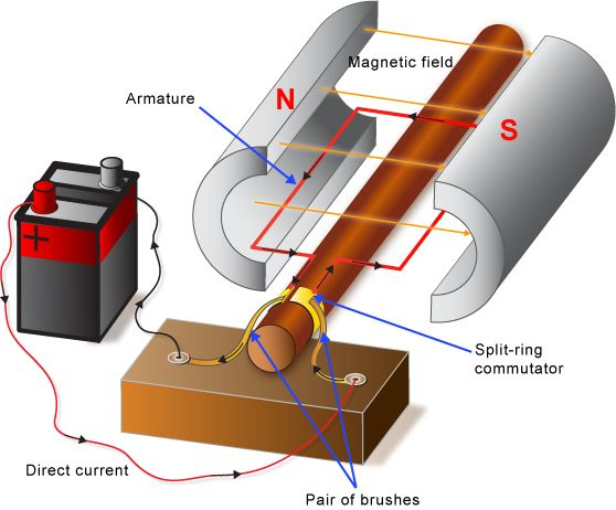 Parts And Functions Of A Simple Dc Motor Eee Ece Electronic Engineering Electronics Circuit Electricity