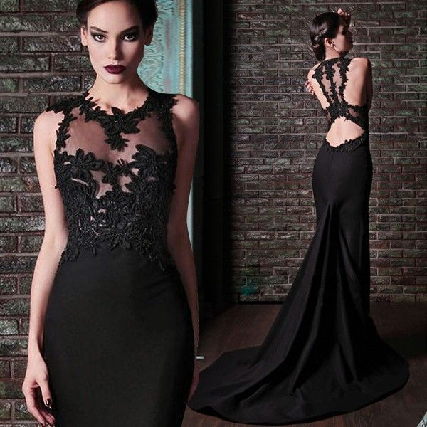 Vestido noche negro largo