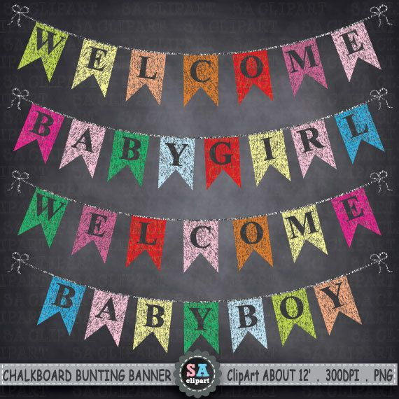 Chalkboard Bunting Banner Clipart Bunting Banner Flag Clipart Party Banner Chalkboard Banner Babyshower Welcome Baby Boy Baby Girl Ca057 By Saclipart Convite