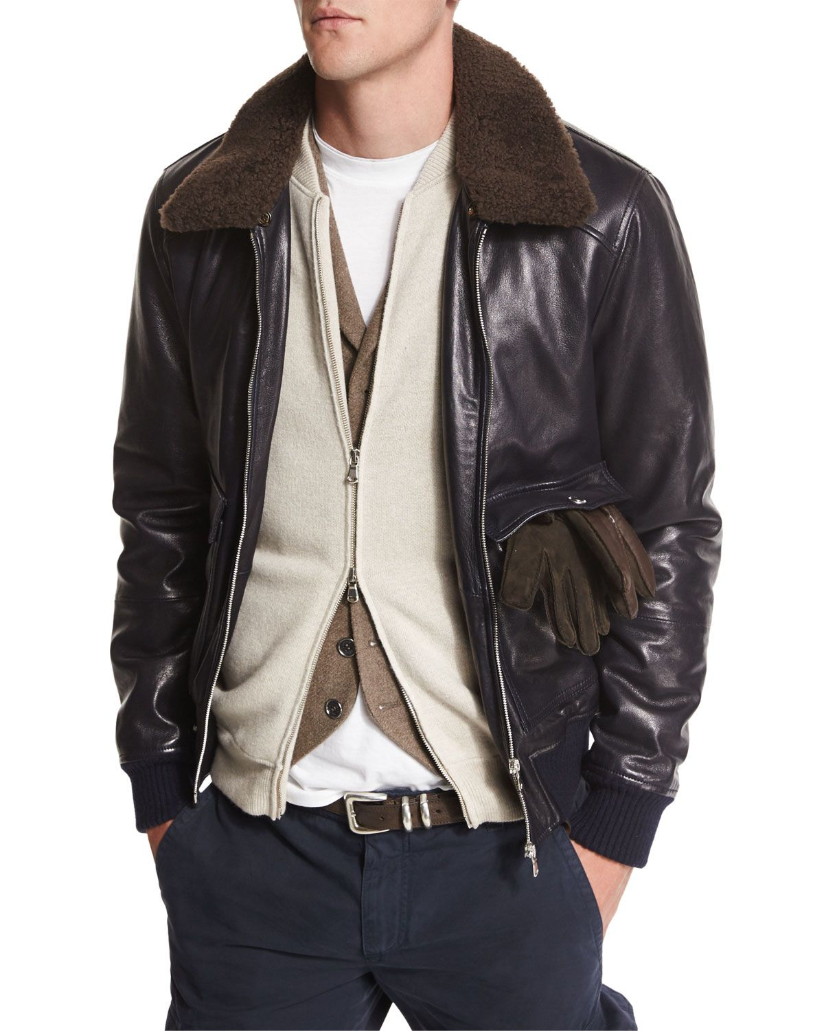 Brunello Cucinelli Leather Aviator Jacket with Shearling