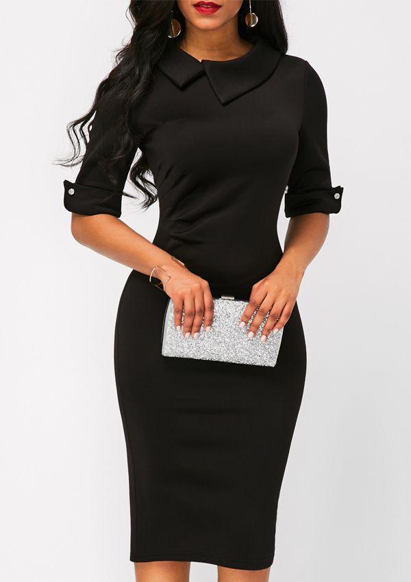 Black · Zipper Back Half Sleeve Black Sheath Midi Dress ...