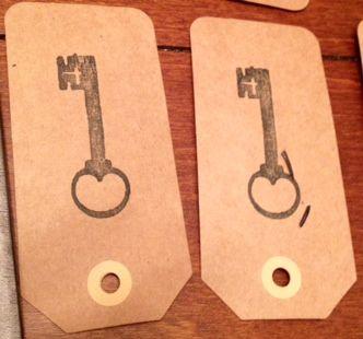 Diy, stamp skeleton keys on paper tags