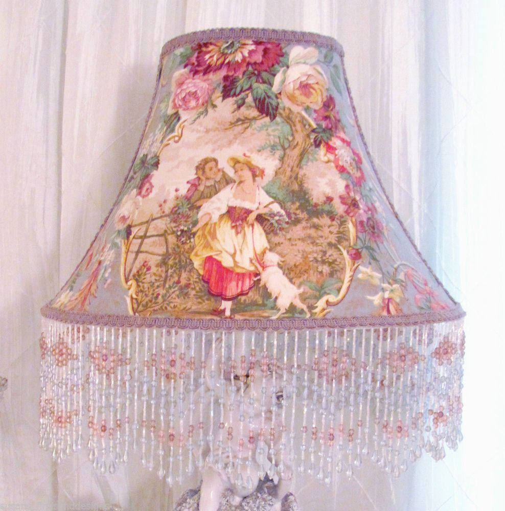 12 lampshade french fragonard cameo toile fabric shabby lavender 12 lampshade french fragonard cameo toile fabric shabby lavender blue beads mozeypictures Choice Image