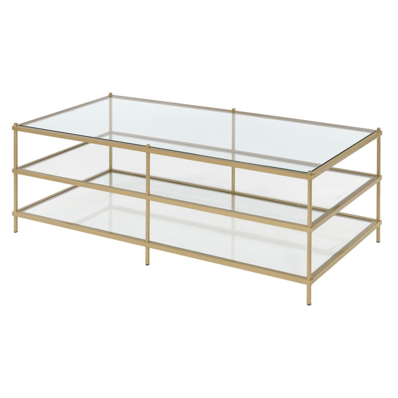 Fox Hill Trading Simplicity 3 Tier Coffee Table In 2020 3 Tier Coffee Table Glass Shelves Metal Accent Table