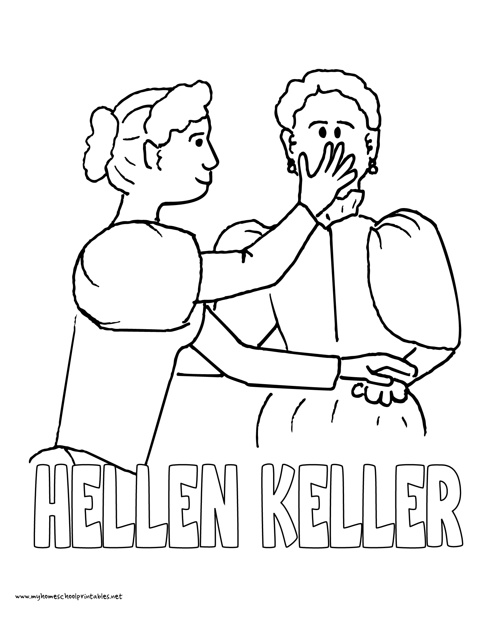 World History Coloring Pages Printables Helen Keller Ann Sullivan Helen Keller Coloring Page For