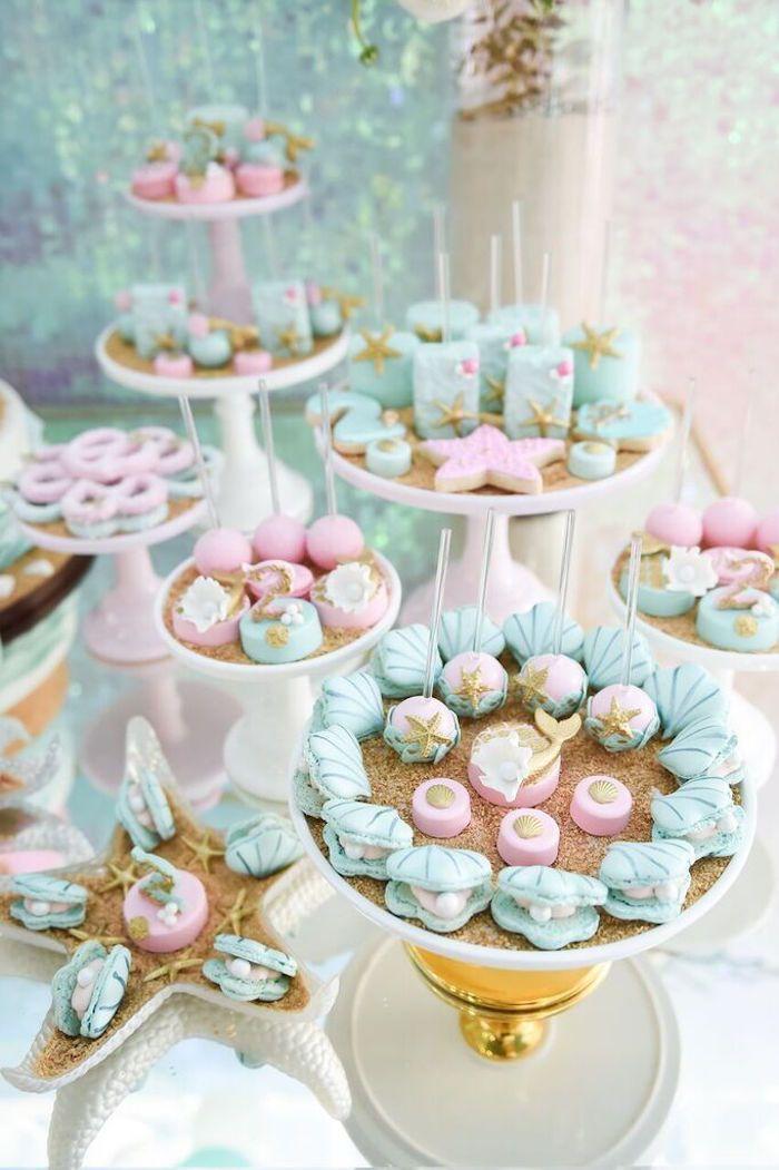 Sweet Display From A Mermaid Oasis Themed Birthday Party Via Kara S Ideas Karaspartyideas