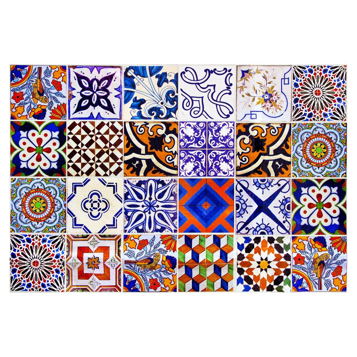 Floorart Tapis En Vinyle 50 X 140 Cm Collage Achica Bathroom Tile Stickers Tile Decals Traditional Tile