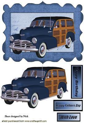 1948 BLUE VINTAGE WOODY IN SCRIPT FRAME on Craftsuprint - Add To Basket!