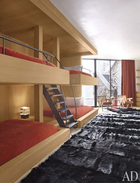 An Aspen Ski Home by Atelier AM : Interiors + Inspiration : Architectural Digest - Some really cool bunk beds!