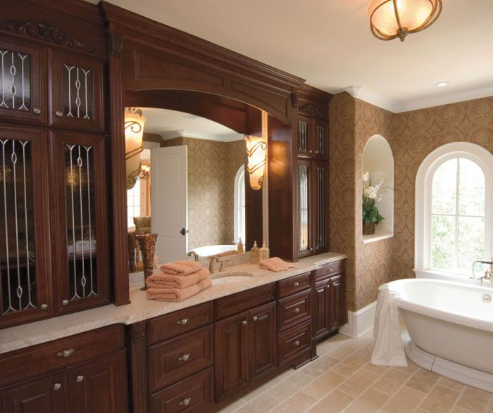 With Ample Countertops And Plenty Of Storage In Sophisticated Cherry  Bathroom Cabinets, You Will Have