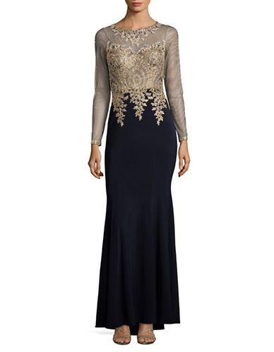 "<ul><li>Sleek embroidery adds charm to this gorgeous gown</li><li>Illusion neckline</li><li>Non-removable paddings</li><li>Long partial beaded sleeves</li><li>Embroidered cuffs</li><li>Mermaid hem</li><li>Concealed back zipper closure</li><li>Lined</li><li>About 59"" from shoulder to hem</li><li>Polyester/spandex<&#x2F..."