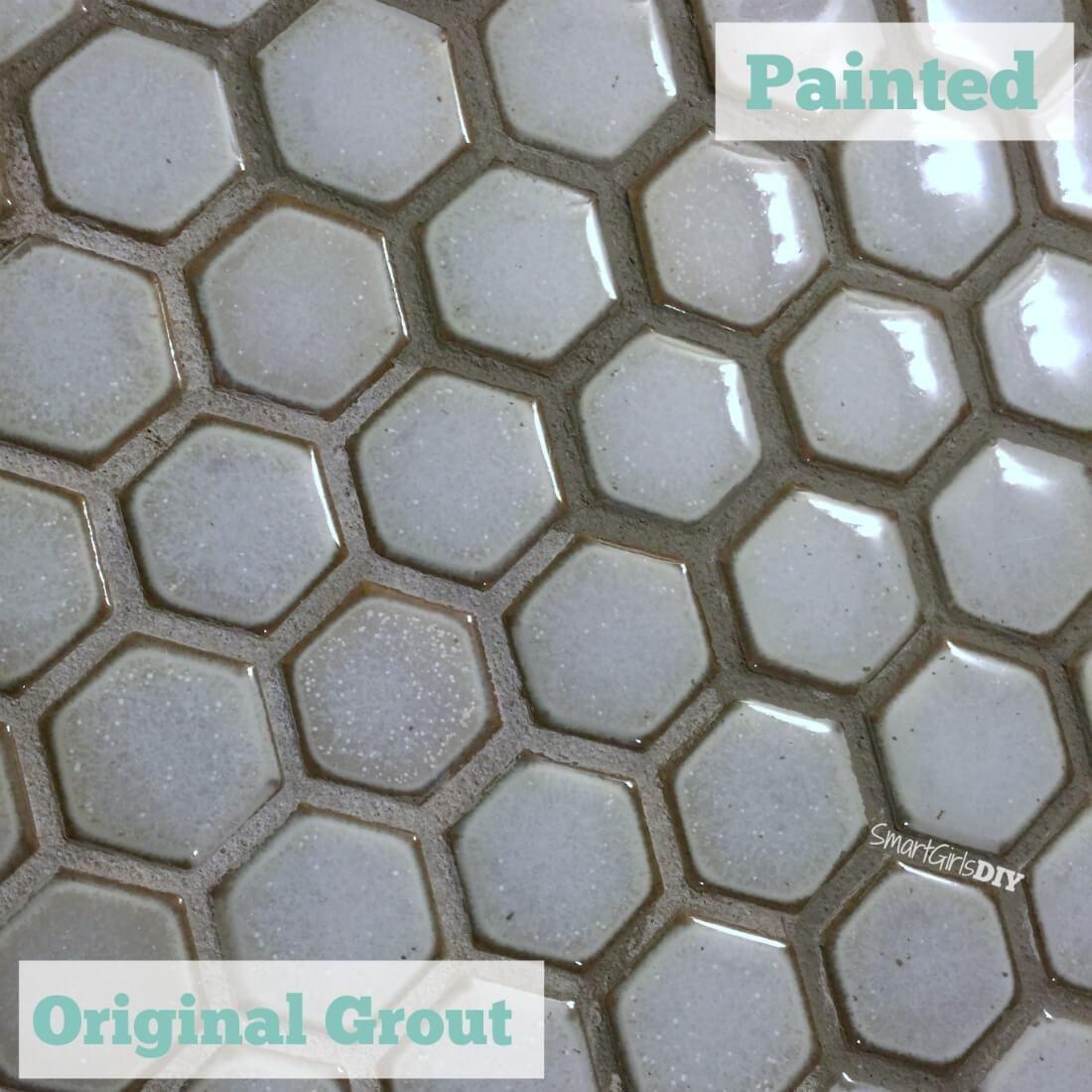 Painting hexagon mosaic floor tile because i hated the grout color painting hexagon mosaic floor tile because i hated the grout color dailygadgetfo Choice Image