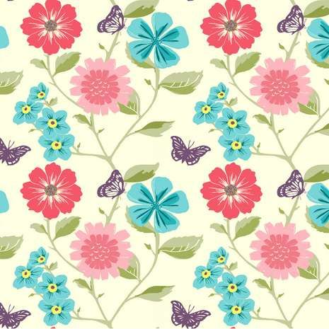 Pastel Butterfly and Floral Fabric