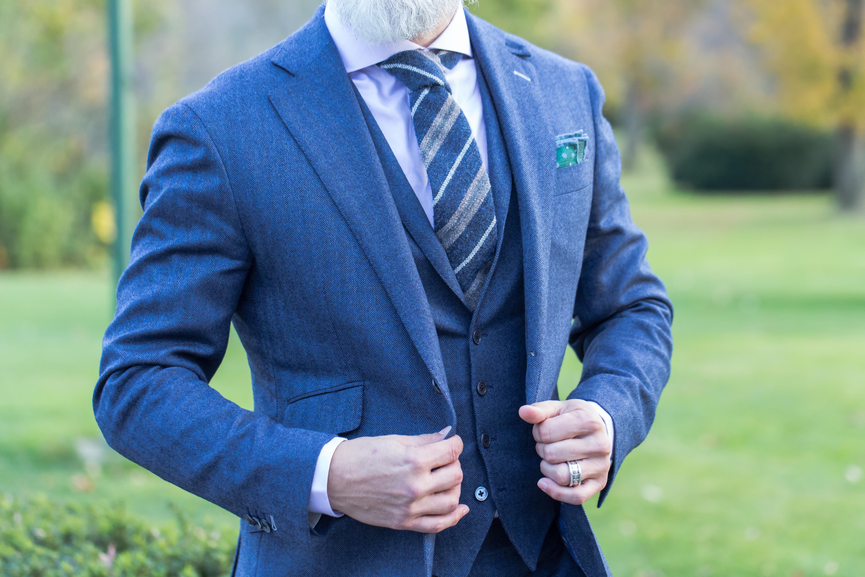 Flannel shirt under suit  Custom Italian blue flannel herringbone piece suit custom