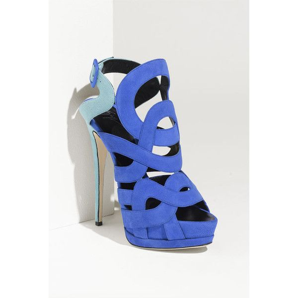 Giuseppe Zanotti Caged Sandal Blue Suede 5 M ($680) ❤ liked on Polyvore  featuring