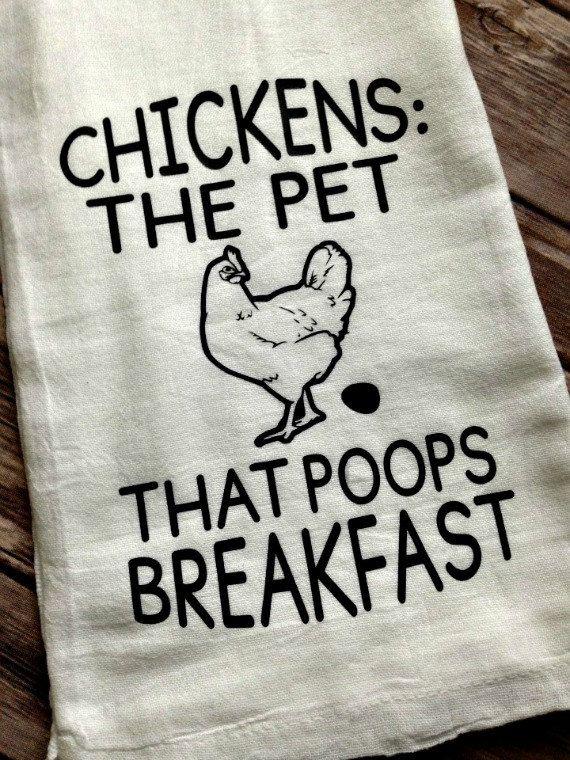 Chicken/'s Pet That Poops Breakfast Tea Towel Flour Sack Dish Towel
