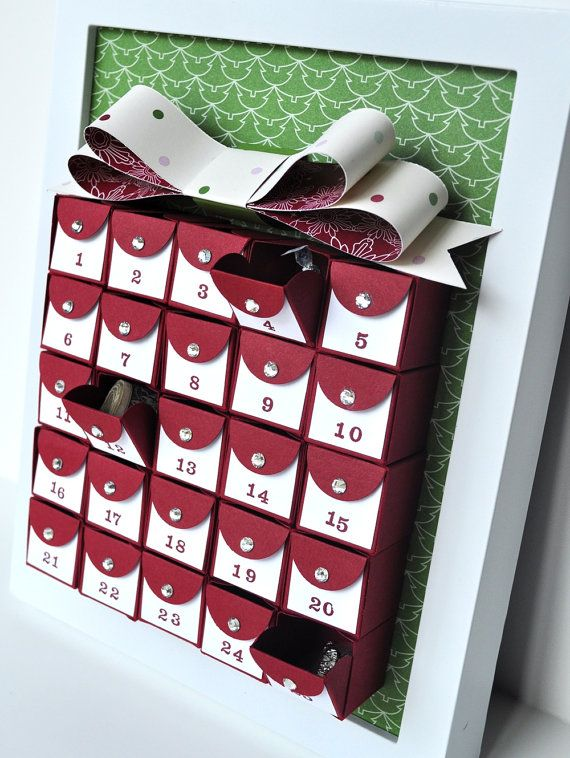 Gift Box Framed Advent Calendar for Wall or by MyPaperMoose, $4995