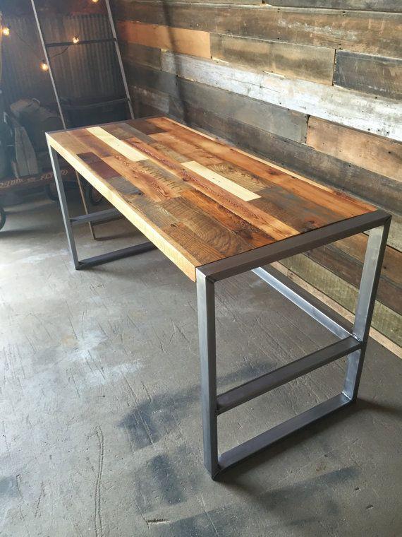 Reclaimed Wood Desk With Metal Frame Base Industrial Etsy