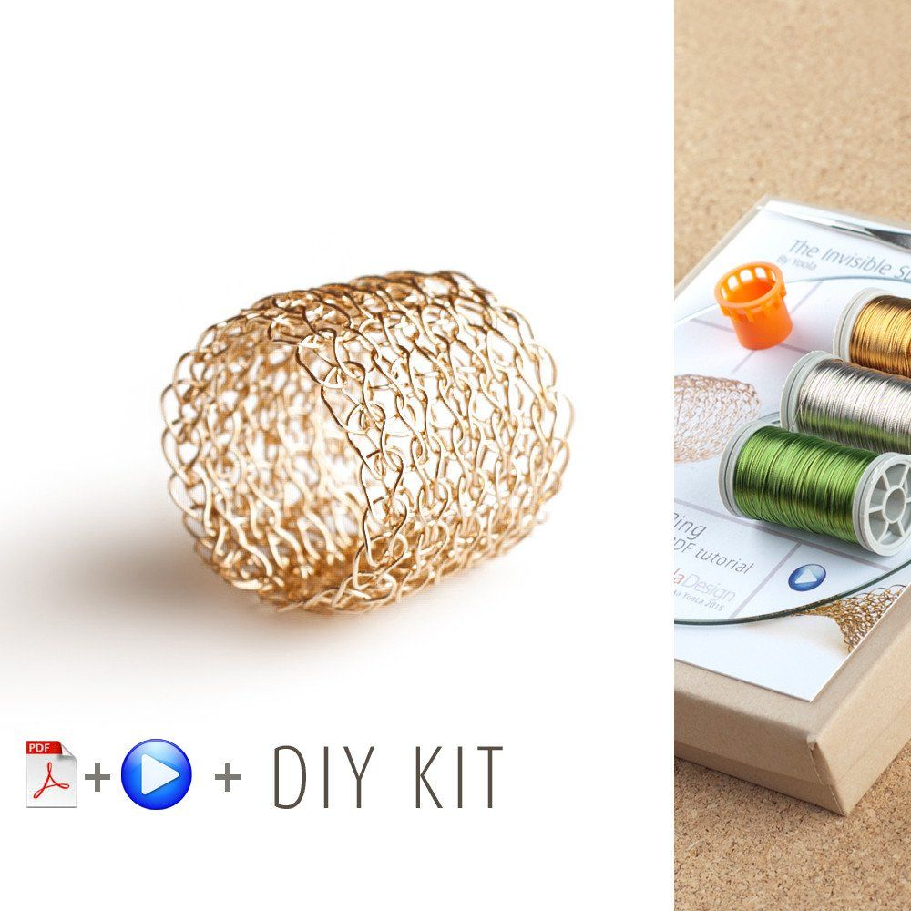How to wire crochet a band ring - DIY kit | Wire crochet, Jewelry ...