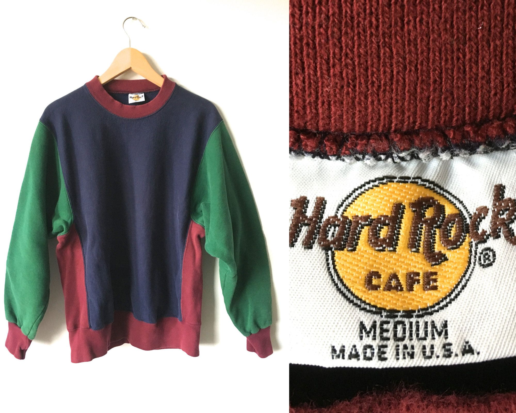 The 90s Color Block Sweatshirt Hard Rock Cafe Usa Made 95 Cotton Navy Blue Maroon Red Hunter Green Crew Nec Color Block Sweatshirt Vegan Sweater Sweatshirts