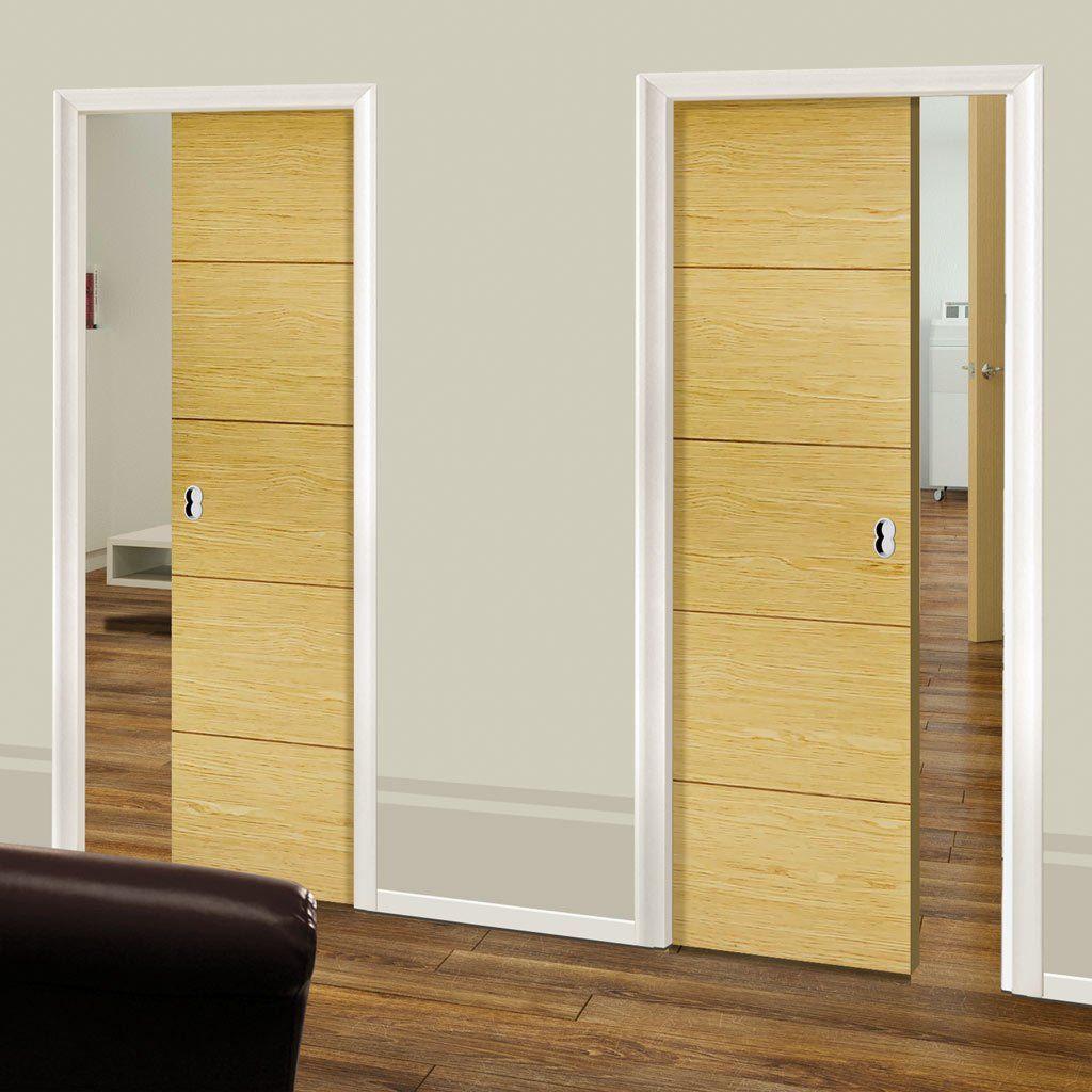 Unilateral Pocket Lille Oak Veneer Doors - Prefinished.    #doubledoors #doors #pocketdoors#unilateraldoors#moderninteriordesign #interiordoors #slidingdoors #hiddendoors
