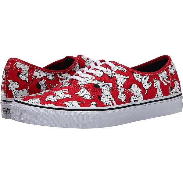 8102f67d0d9 Vans Disney Authentic ((Disney) Dalmatians Red) Skate Shoes ( 36) ❤ liked  on Polyvore featuring shoes