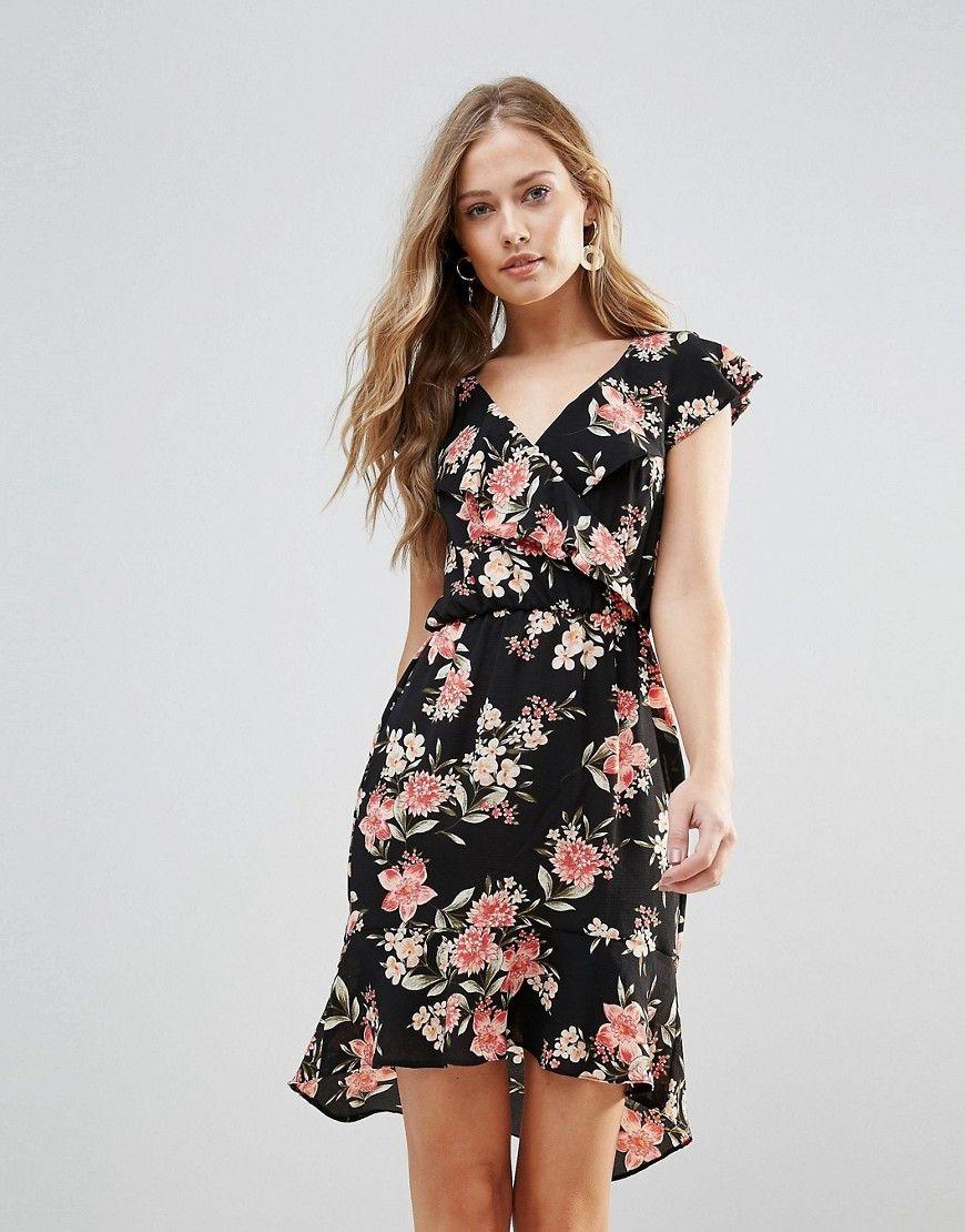Oh My Love - Geblümtes Kleid mit Rüschendetail und Schößchensaum