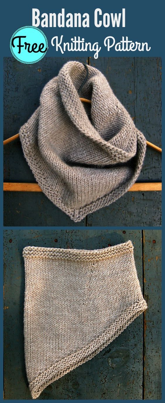 Bandana Cowl Free Knitting Pattern Knit Pinterest Bandanas