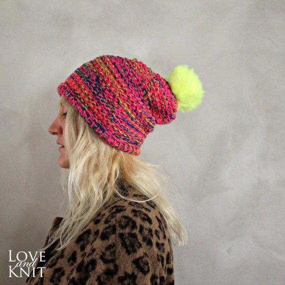 Neon Pom Pom Beanie   Hot Pink Neon Yellow Pom Pom Hat   Womens Knit Beanie    Fur Pom Pom Beanie   F afbad2dd14